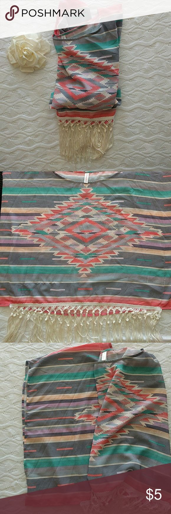 Aztec Sheer Tassel Flowy Top XS Like New, worn once Beautiful Aztec Print and Colors Loose Fitting, can work for Size Small too Xhilaration Tops Blouses