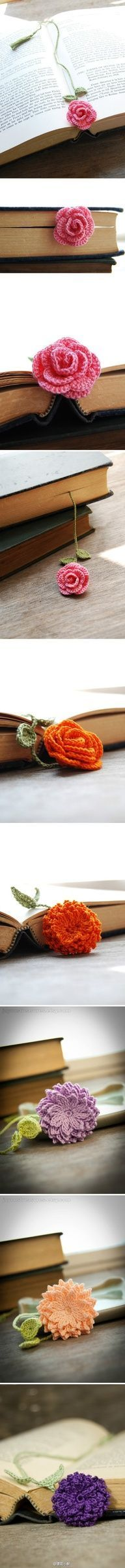 Pretty bookmarks - crochet flowers. Choose your favorite crochet flower pattern and color. Voila!  3 likes 12 repins  Dilce Costa via Veronica Johnson-Cavins onto Crafting