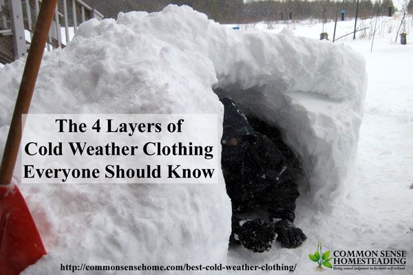 Learn how to chose the right type of cold weather clothing to layer for warmth and safety, including the importance of wicking layers and windshells.