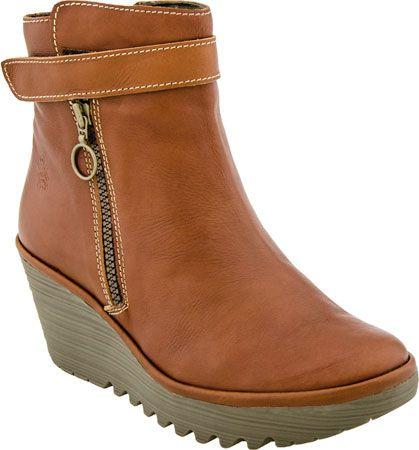 Fly London Yava Women's Wedge Boot (Cognac)