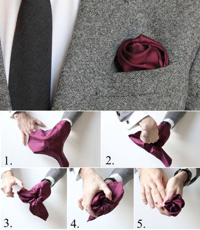 How To Fold a Pocket Square: The Flower Fold. Ein wenig Romantik für dein Outift - hier ein super Tipp. Dein Einstecktuch zum Ausprobieren gibt es bei Uli Schott - The unknown brand www.ulischott.de