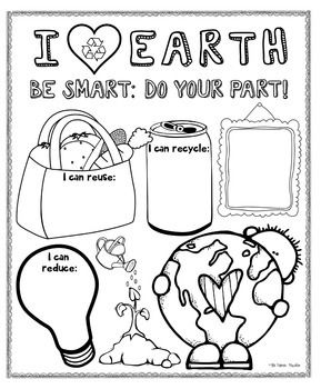 Earth Day poster (boy and girl) for bulletin boards - have students draw/write ways to reduce, reuse, and recycle