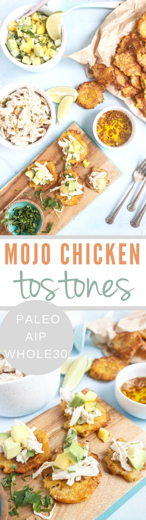 These Mojo Chicken Tostones with Mango Avocado Salsa make a fantastic lunch or easy dinner. With a few shortcuts this can be on the table in less than 30!