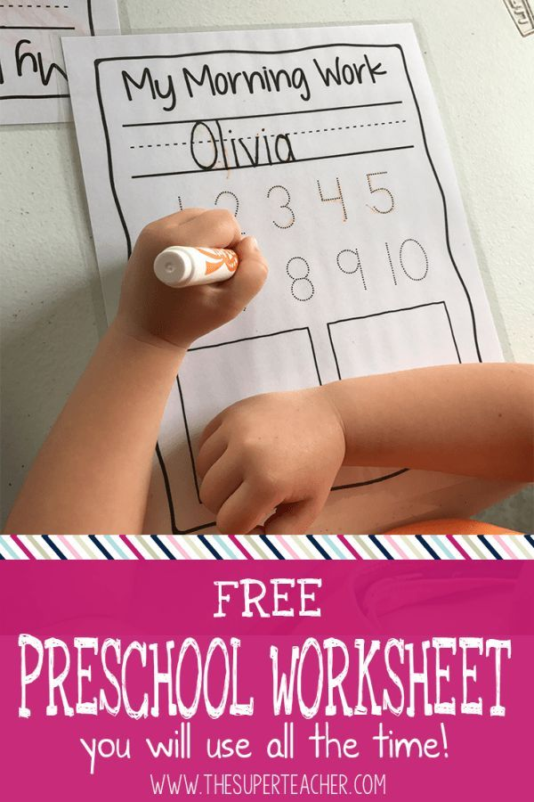 Teach your preschool students to write their names and numbers with this FREE printable worksheet.  This worksheet is reusable, and you can use it every day after circle time for daily fine motor skills work!  Click here to get this FREE practice worksheet for pre-k or kindergarten now!