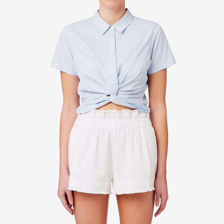 Knot Crop Shirt GLACIER BLUE