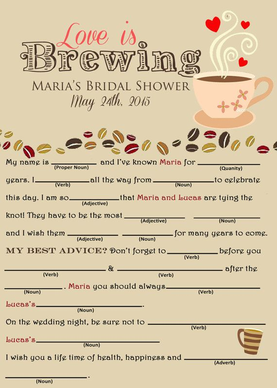 Love is Brewing Bridal Shower Mad Libs by DashofDetails on Etsy