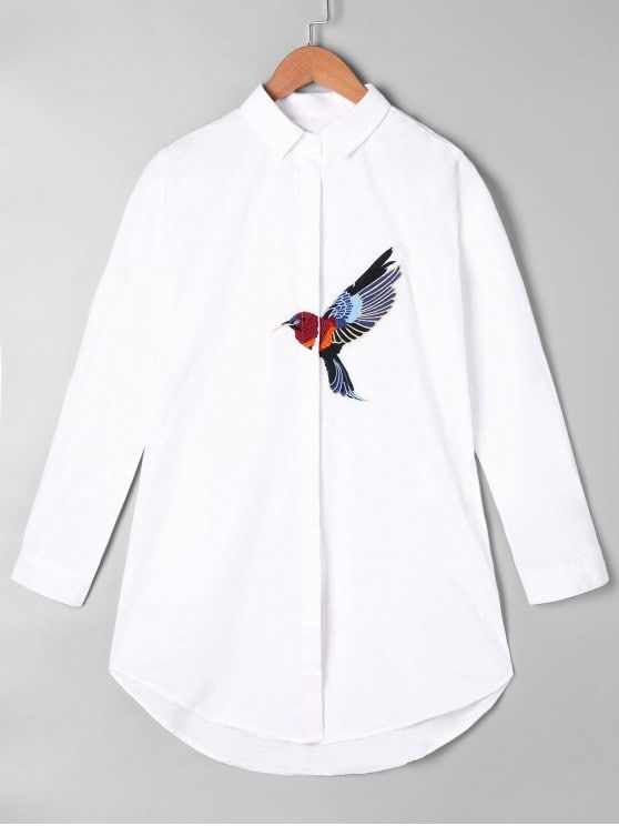Embroidery Bird Graphic Tunic Shirt - WHITE ONE SIZE