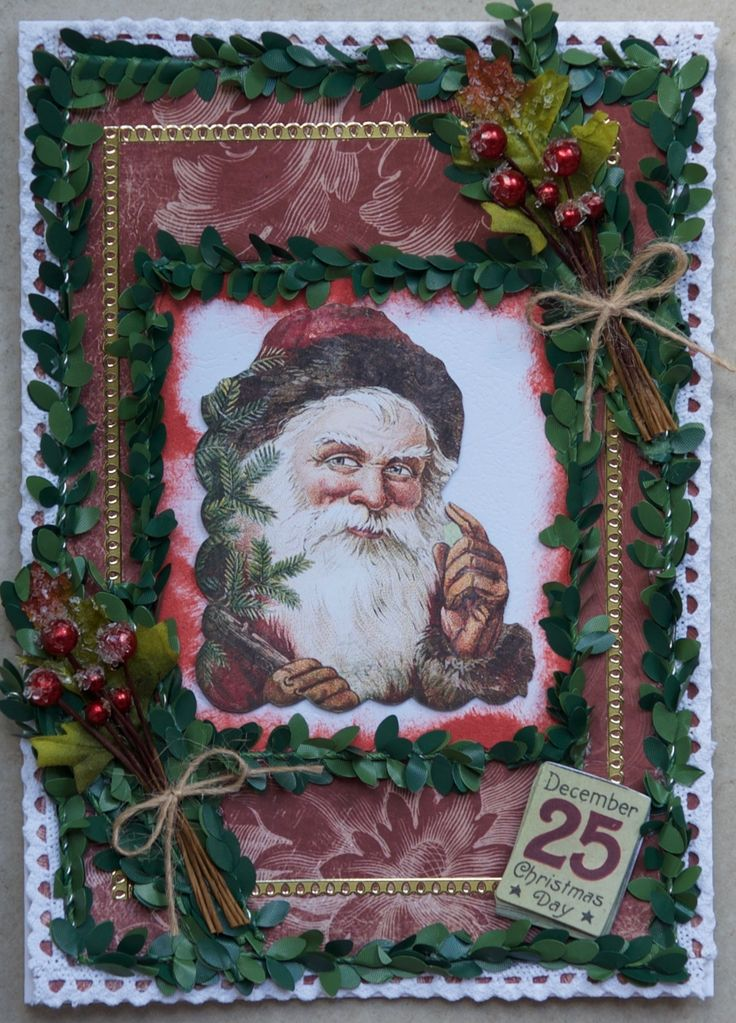 Christmas Card 2016: Paper and Santa from the Bo Bunny Father Christmas collection; 25 December is a docrafts Victorian Christmas sticker; Tim Holtz Idea-ology boxwood twine; Petaloo berry clusters; Kaisercraft lace