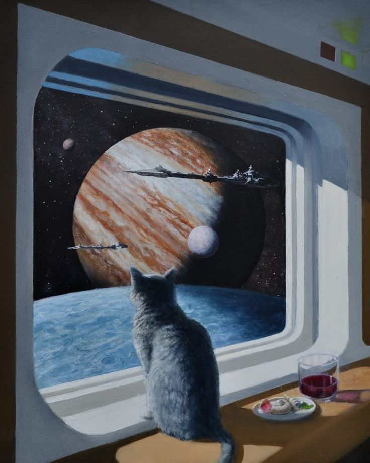 If you click on the picture it'll open a website with MANY MANY cats in space drawings: 70-s sci-fi space cat.