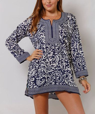 Look at this #zulilyfind! Navy & White Tapestry Notch Neck Tunic by La Moda Clothing #zulilyfinds