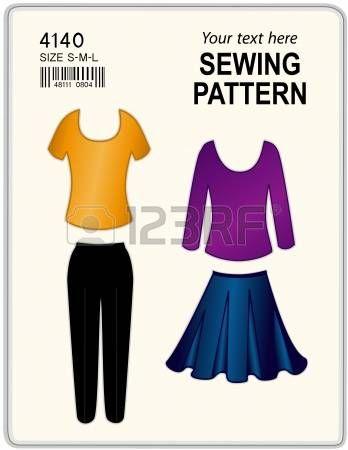 Fashion modello di cucito per le donne, pantaloni, gonna, camicia, tunica, isolati su bianco, copia spazio per aggiungere il nome o l'arte photo