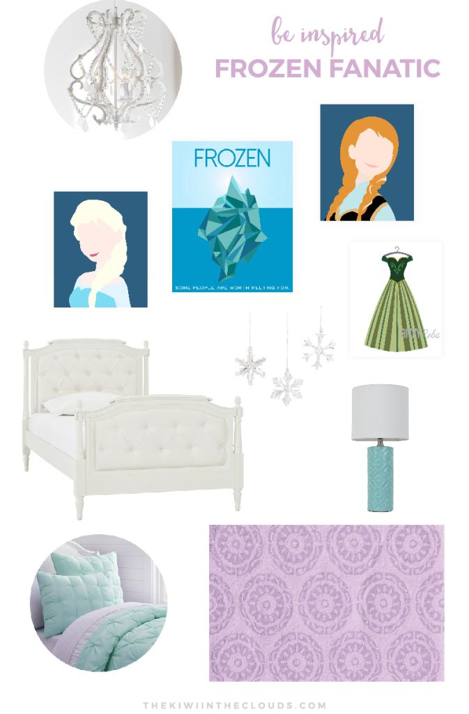 Frozen Bedroom Idea For Girls | Is your little girl obsessed with Disney's Frozen? If so, click through for all the details on decorating a classy and cute bedroom plus download 2 FREE Elsa + Anna printables.