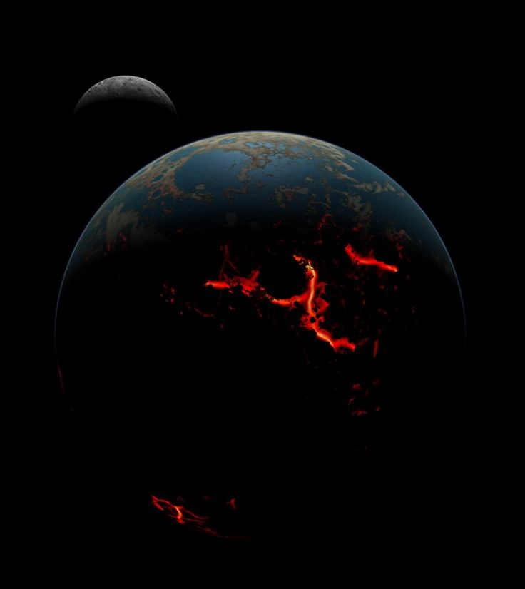 An artistic conception of the early Earth-moon system showing the Earth's surface after being bombarded with large impacts, causing magma extrusion on the surface, though some liquid water was retained. Image released on July 30, 2014.
