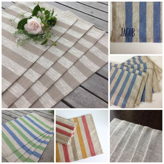 linen placemats / striped linen placemats / rustic by BicoEstonia
