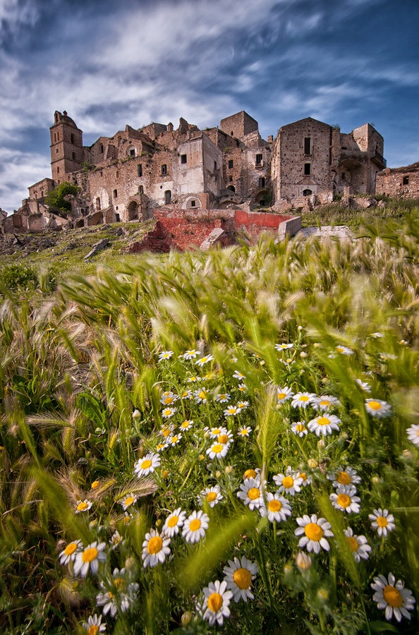 Craco, Italy-- ghost town, abandoned because of earthquakes.