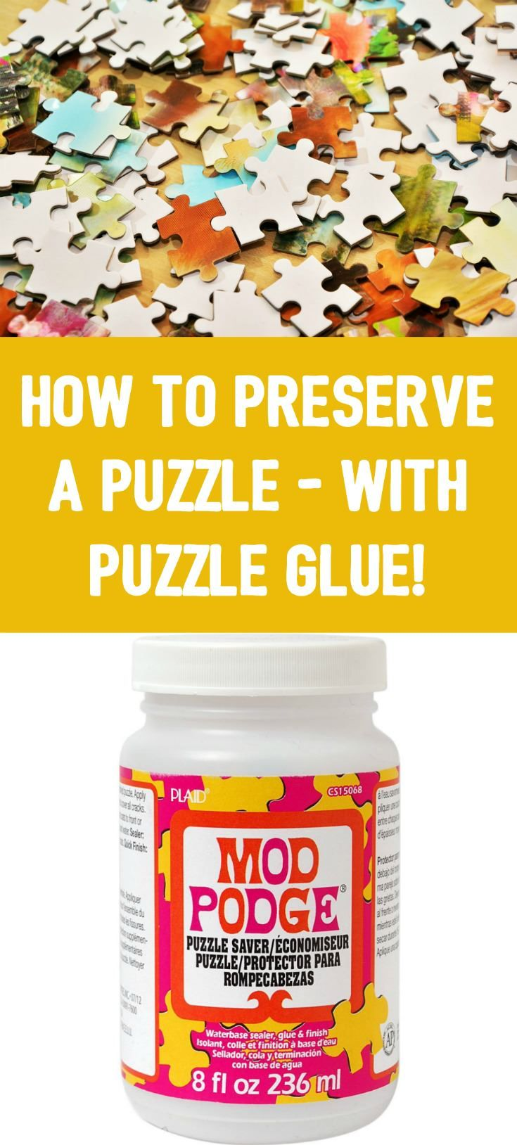 Learn how to preserve a puzzle with puzzle glue! My favorite is Mod Podge Puzzle Saver. I'll show you my process for gluing your puzzles permanently. via @modpodgerocks
