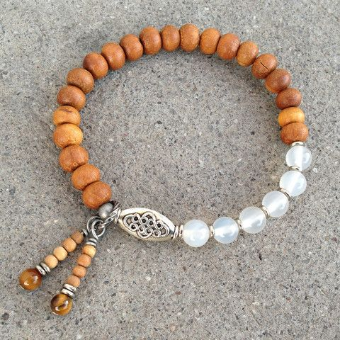 Sandalwood and white agate mala style bracelet
