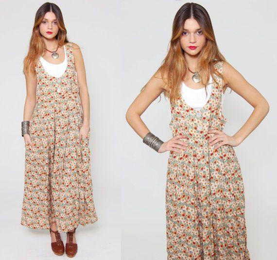 Vintage anni 90 prendisole floreale lungo il ponticello abito Grunge Floral Maxi abito
