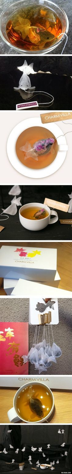 These are really awesome - Goldfish Tea Bags Will Turn Your Teacup Into A Fishbowl!