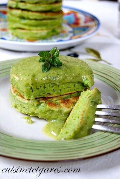 Pancakes aux Petits Pois et sa Sauce Courgettes et Menthe - Cuisine et Cigares