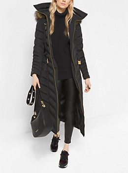 Faux-Fur Trimmed Down Puffer Coat by Michael Kors