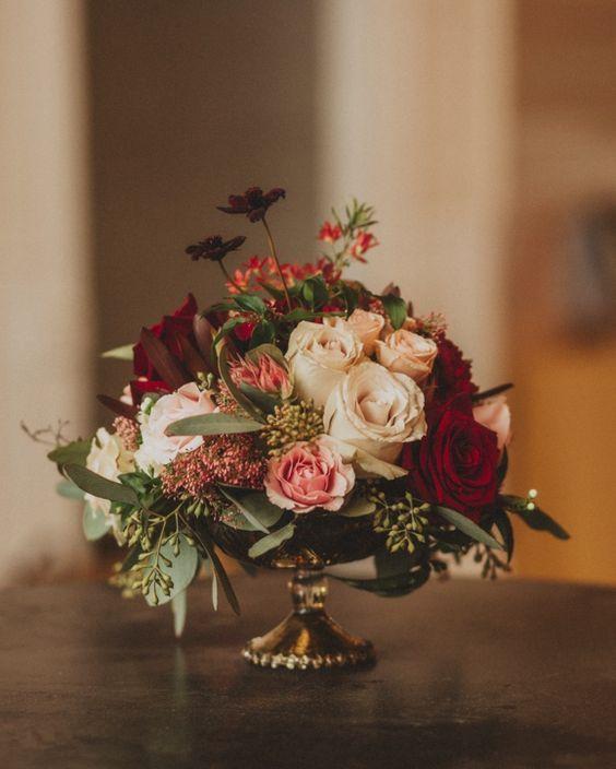 Wedding Reception Flower Centerpieces: White, Blush And Red Fall Wedding Reception Centerpiece
