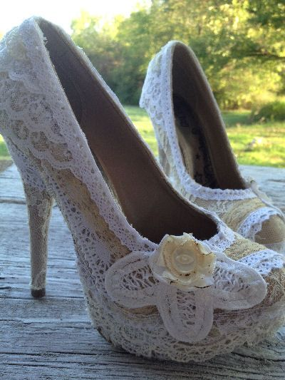 diy wedding shoes 20 DIY Lace Projects