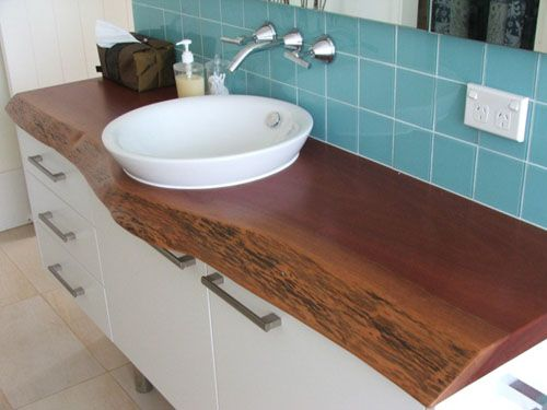 Blue gum  timber slab as a vanity top: Sunshine Coast http://www.fabslabtimber.com.au/timber_slabs/pages/008.htm