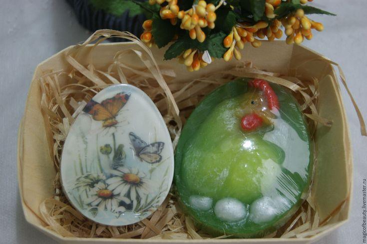 Купить ПАСХАЛЬНЫЙ НАБОР МЫЛА( Яйцо и курочка) - белый, зеленый, желтый, яйцо, яйцо пасхальное