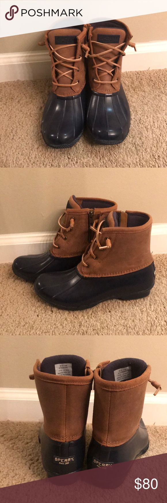 Brand New Never Worn Sperry Duck Boots Bean Boots women's size 7 (can fit 7-8) never worn! brand new! navy/tan sooo comfy!! (i have the black pair i wear 24/7) waterproof! i got these boots and got the wrong size but couldn't return them! price negotiable! make me an offer with the offer button! vvv or add to a bundle for 15% OFF!!! Sperry Shoes Winter & Rain Boots