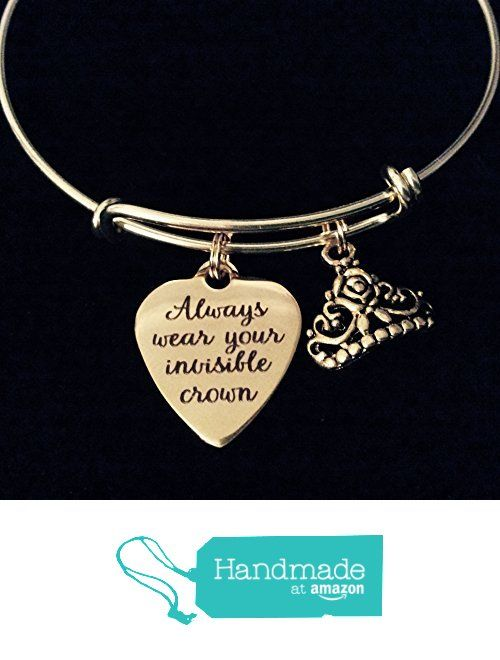 Gold Always Wear Your Invisible Crown Expandable Charm Bracelet Adjule Bangle Inspirational Tiara From Jules Obsession