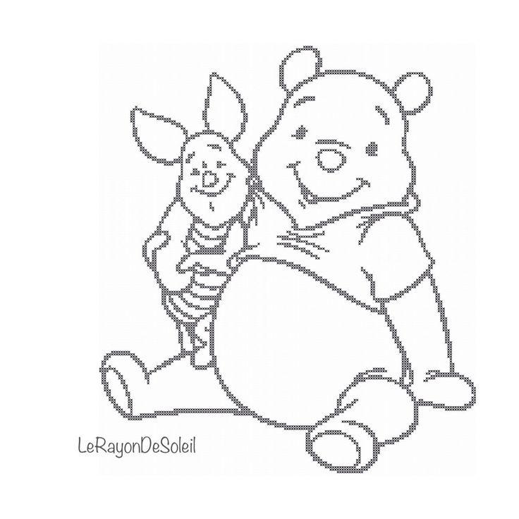 Cross stitch pattern Winnie the Pooh and Piglet door LeRayonDeSoleil