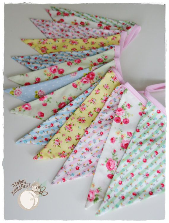 Shabby Chic Garland with roses . Pastel - Bunting Banner . Flag Bunting . Pennant Banner . Flag Garland . Party Decoration . Fabric Bunting