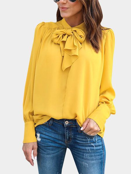 Yellow Lace-up Design Long Sleeves T-shirts