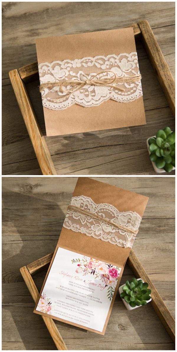 #rusticwedding #weddingcards #boho 2016 rustikale Hochzeitskarten Einladungen Klappkarten mit geschmükten Rose Blumen