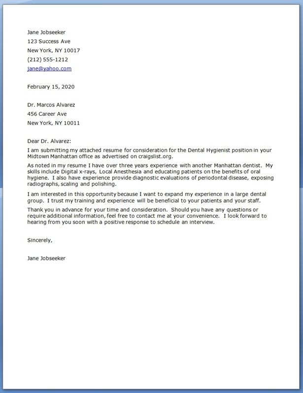 orthodontic assistant cover letter