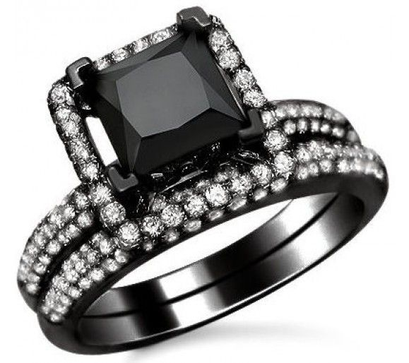 black wedding ring adorable 255ct black princess cut diamond engagement ring bridal set - All Black Wedding Rings