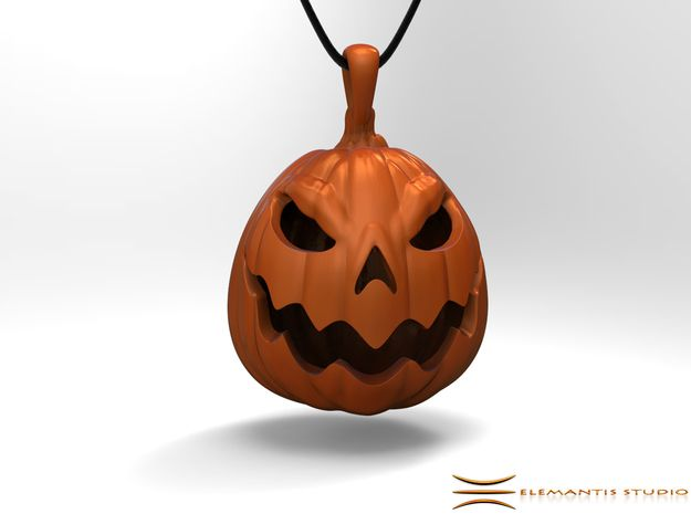 Jacko-Lantern Pendant 2.5cm in Orange Strong & Flexible Polished