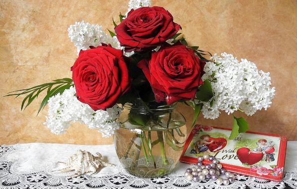 Photo wallpaper Lilac, ракушка, бусы, красные, украшения, Roses, розы, сирень