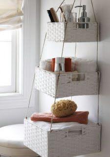 Hanging Storage Baskets. Garage apartment bathroom?