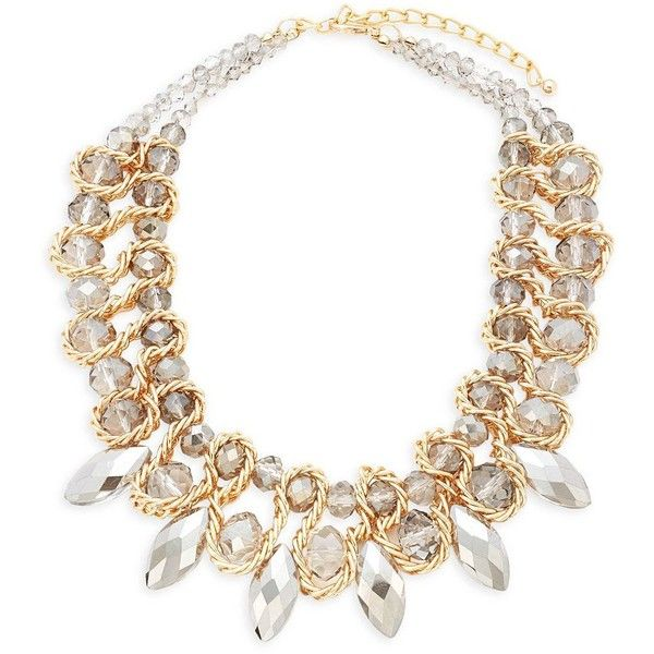 Saks Fifth Avenue Crystal Stoned Statement Necklace ($50) ❤ liked on Polyvore featuring jewelry, necklaces, gold tone jewelry, statement necklace, statement bib necklace, stone necklace and stone jewellery