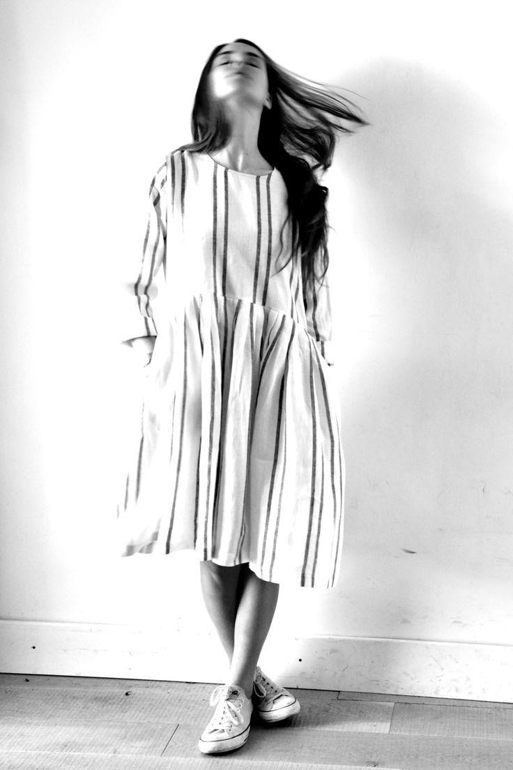 robe à plis manches longues en lin rayures larges - VDJ