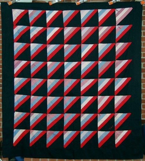 Ohio AMISH Roman Stripe Antique Quilt ~DATED 1927!