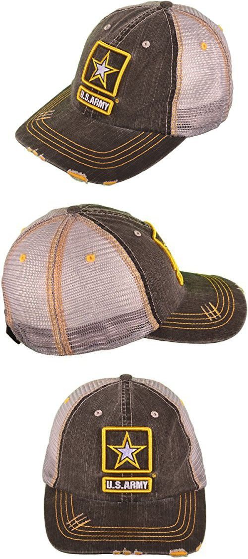 US Army Low Profile Unstructured Cotton Twill Distressed Trucker Hat ... 03fa8cdec679