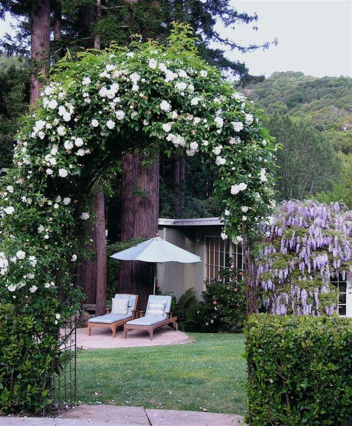 garten gestalten bilder gartenzaun ideen kletterpflanzen gartenmöbel