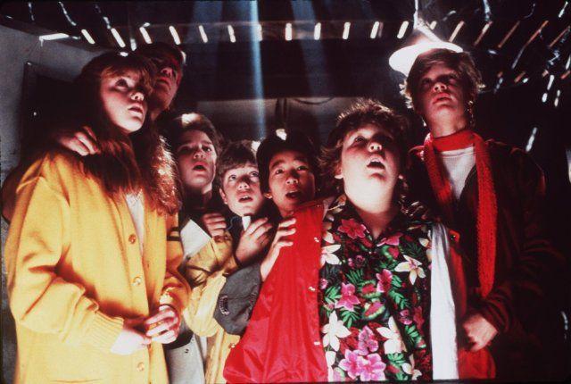 Still of Sean Astin, Corey Feldman, Martha Plimpton, Josh Brolin, Jeff Cohen and Jonathan Ke Quan in The Goonies...Classic Movie