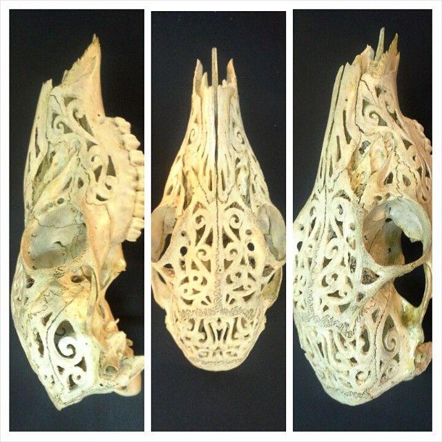 Hand carved deer skull