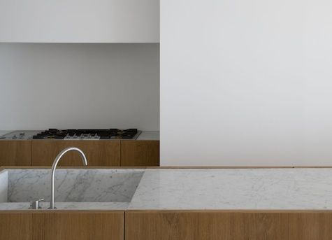 Vincent Van Duysen kitchen Love the marble sink - so more sensual than s/steel. Not sure how the bench top edge detail would look over time when the doors sag differentially- but interesting detail nonetheless