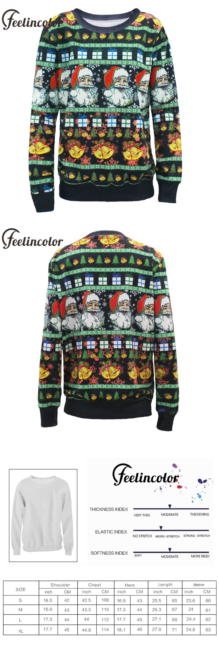 Feelincolor Ugly Christmas Sweater Santa Clus X-mas Unisex Sweaters Fashion Reindeer Black Sweater For Men Women Pullovers