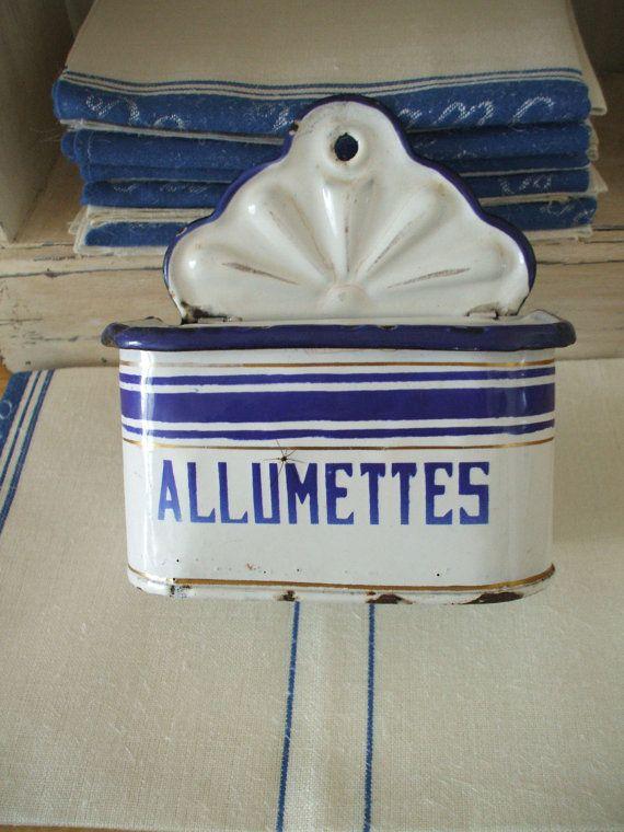 antique French ENAMELWARE  granite ware allumettes/matches box  FRENCH KITCHEN blue and white enamel on Etsy, $75.00
